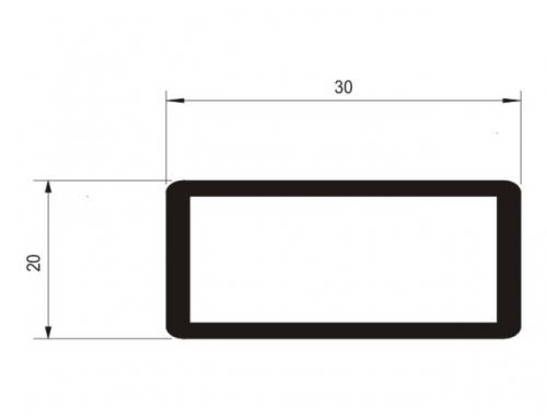 Tubo retangular 20 x 30 mm com raio