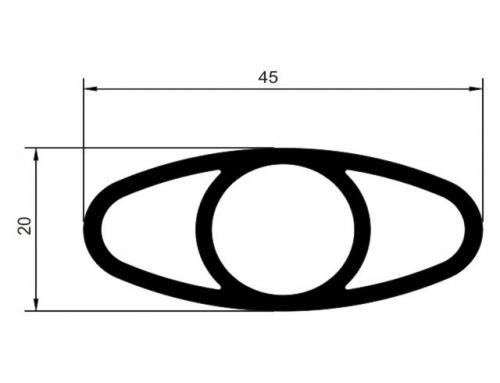 Tubo el�ptico 45 x 20 mm com alma