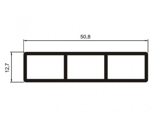 Tubo retangular 12 x 50 mm com raio