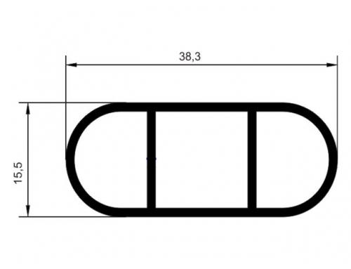 Tubo oblongo 38 x 15 mm